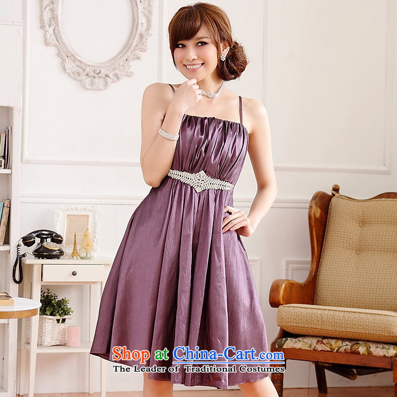 �Europe and the splendid demeanor Jk2.yy aristocratic palace strap dress dinner will be sister dresses purple�XL