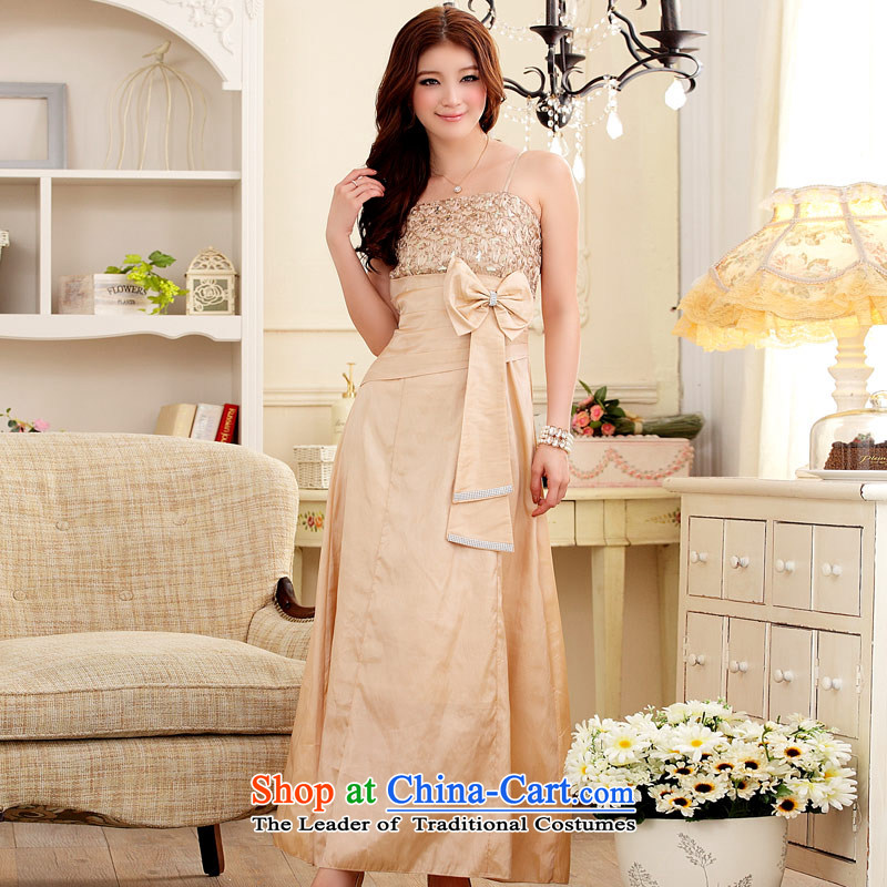 �Elegant and well refined aristocratic Jk2.yy lace water drilling Sau San dress long skirt banquet dresses champagne color are code