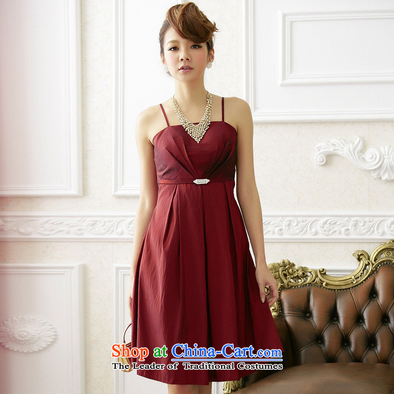�Western style modern Jk2.yy dinner sister bridesmaid mission dresses and sexy straps dresses wine red�XXL