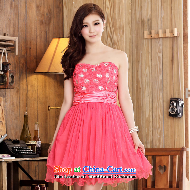 �Lei mesh yarn Jk2.yy rose Foutune of female end of the Chest Princess skirt dress short of the dresses red�XXL