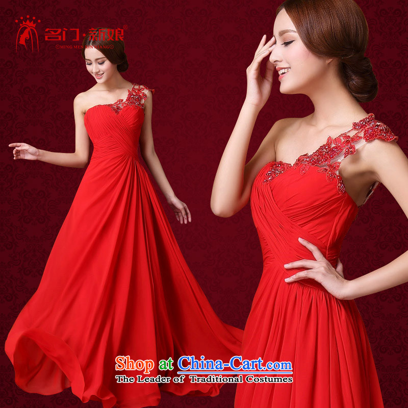 A?new bride 2015 Red bows dress shoulder elegant wedding dress sweet lace 588M