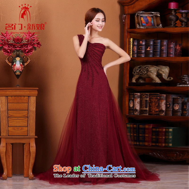 A Bride�2015 bride dress wine red tail elegant dinner serving�583 dress M