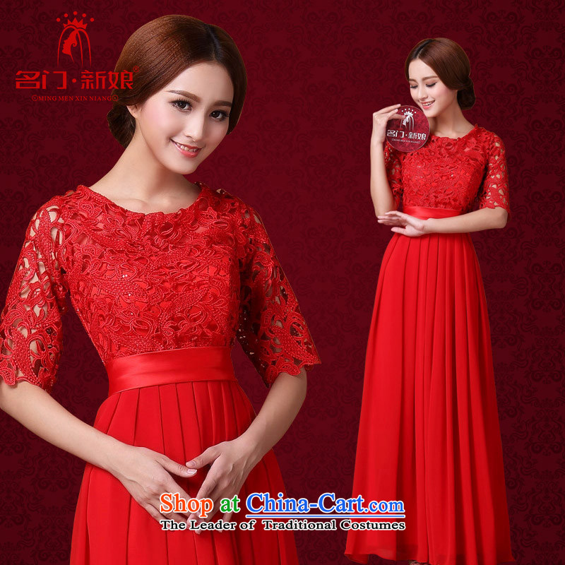 A聽new bride 2015 Red bows dress water-soluble lace long gown dinner serving 592 M
