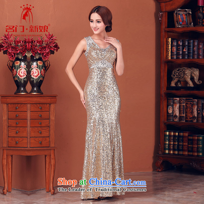 Name the�new bride door 2015 dinner dress gold on-chip flash dress wedding dress 580 M