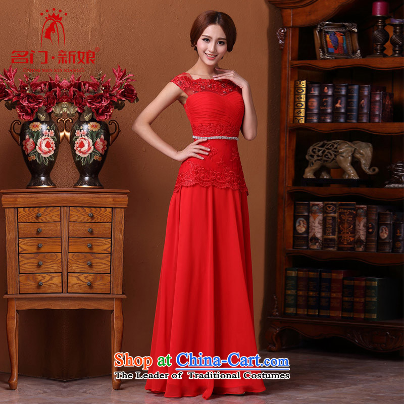 A?new bride 2015 Red Dress marriage bows dress elegant dress lace 589 M