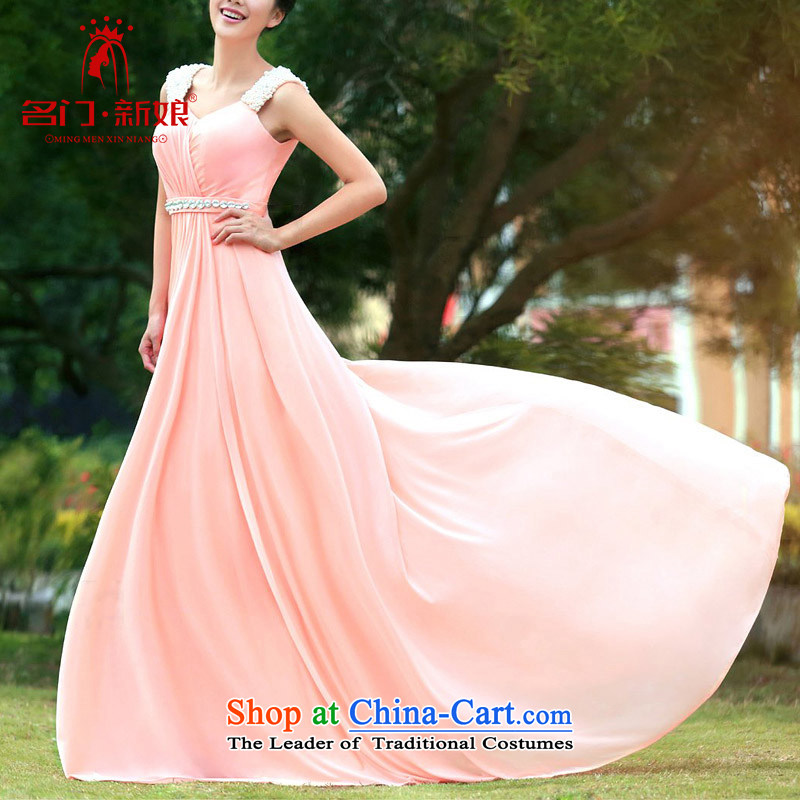A�new 2015 bride elegant stylish dress tail dinner service pink dresses 341 S
