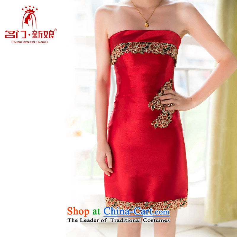 Name the?new 2015 bride door stylish short of dress classical bows dress?127?red?L