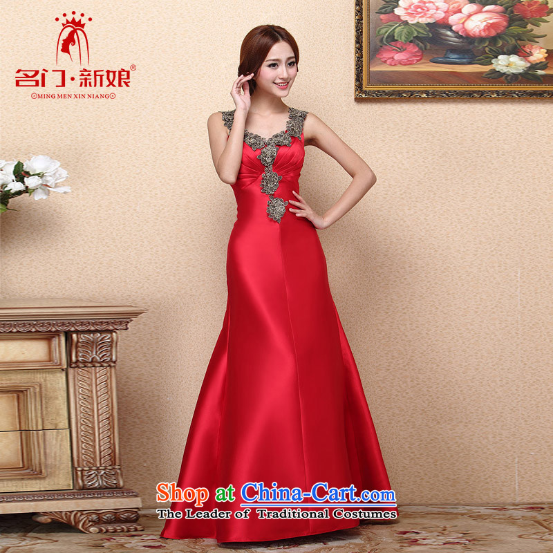A�new bride 2015 Red Dress crowsfoot dress dinner drink service wedding dress 662 S
