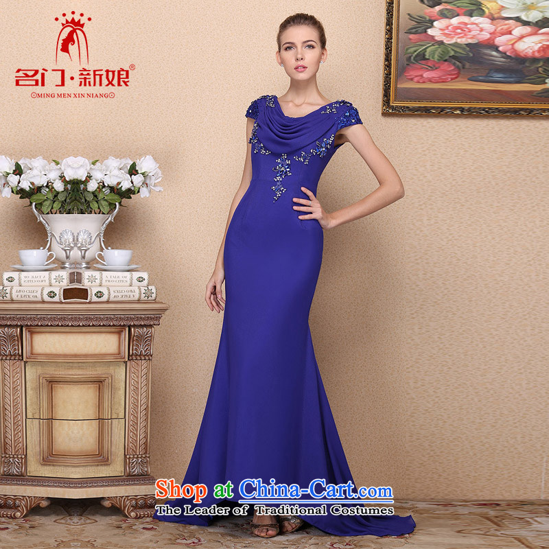 A?new dresses bride 2015 royal blue Tail dress drill elegant wedding dresses manually 693 L