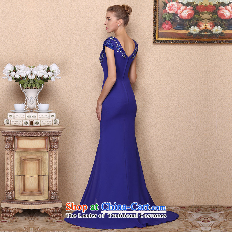 A New Dresses Bride 2017 Royal Blue Tail Dress Drill Elegant Wedding Manually 693 L