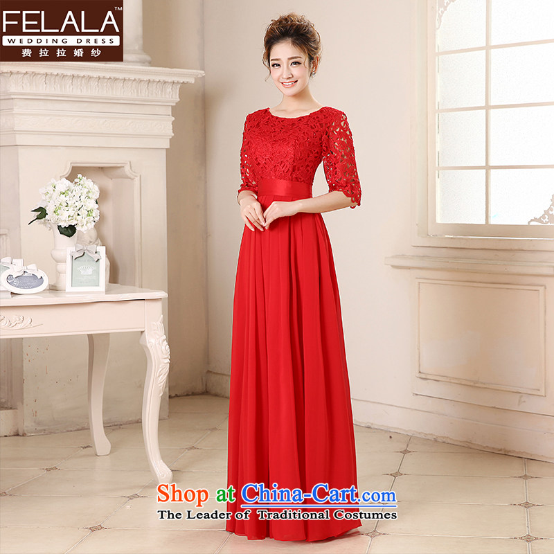 Ferrara 鈾� 2015 new wedding dresses Red Dress Short of qipao larger marriages in summer clothing cuff bows long聽S聽Suzhou Shipment