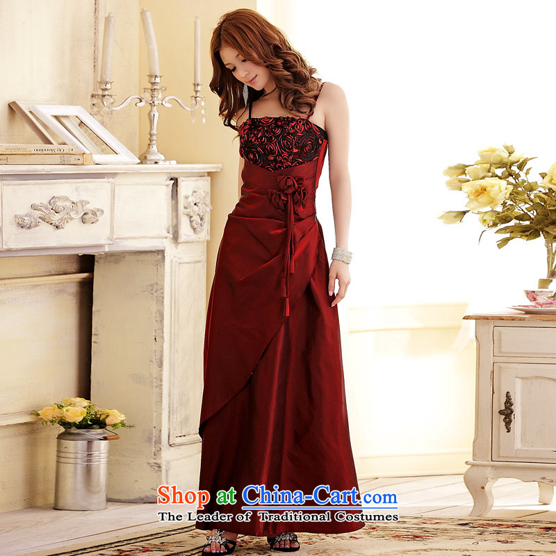 ?Wedding Banquet Jk2.yy rosebuds circled elegant long moderator dress long skirt strap dresses wine red are code