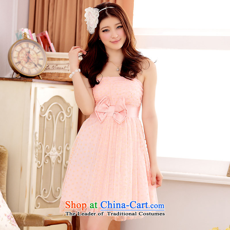 �The Korean version of Princess van Jk2.yy Foutune of short, bridesmaid mission dress wiping the chest pink dresses are code