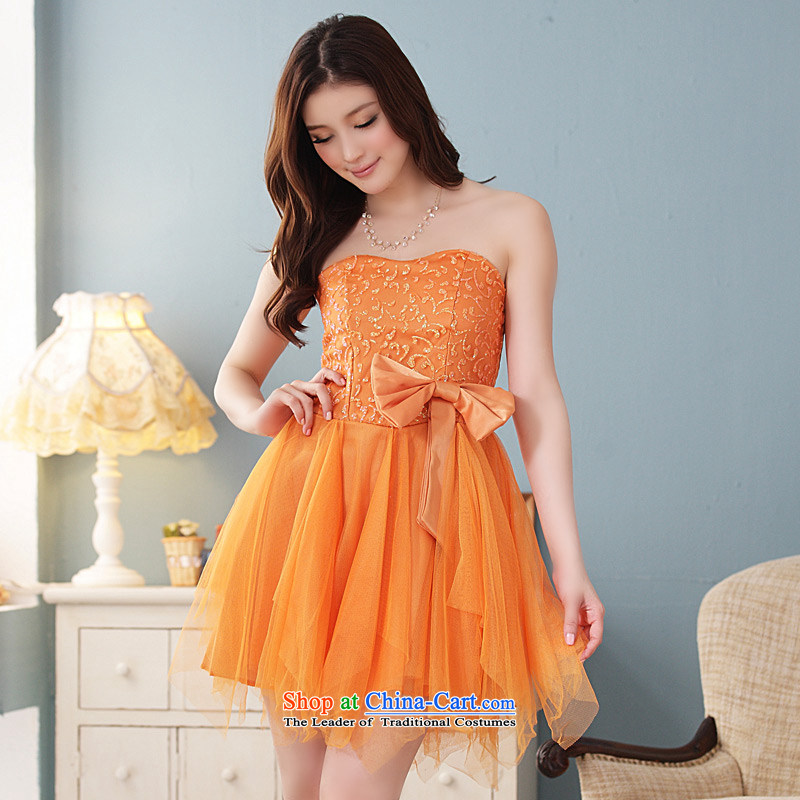 �Dinner will be short of Jk2.yy maximum code at the end of mission dress bridesmaid chest skirt (feed) colored orange with invisible�XXXL