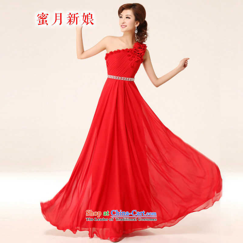 Honeymoon bride 2015 New Red pearl of nail sweet water Shoulder Drill bride evening flower show banquet bows dress RED�M