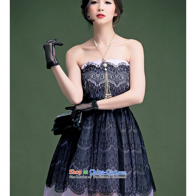 The end of the light (MO) QIAN lace, tied the bow tie the yarn bon bon small dress ocean skirt Female dress code are light purple-2366