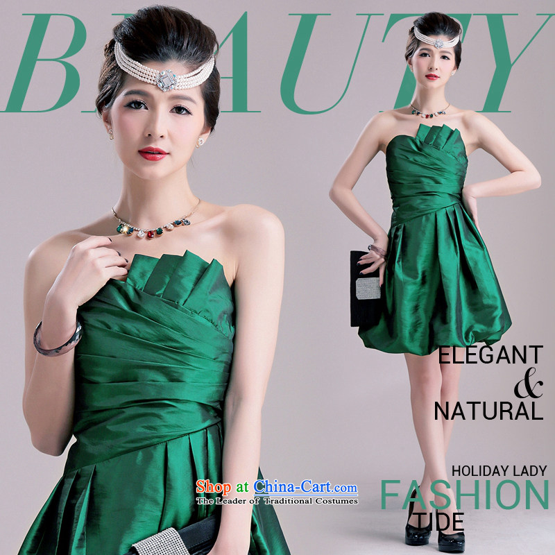 The end of the light (MO) QIAN elegant beauty chest fold lanterns petticoats small dress female foreign women's dress skirt bows to green�XL