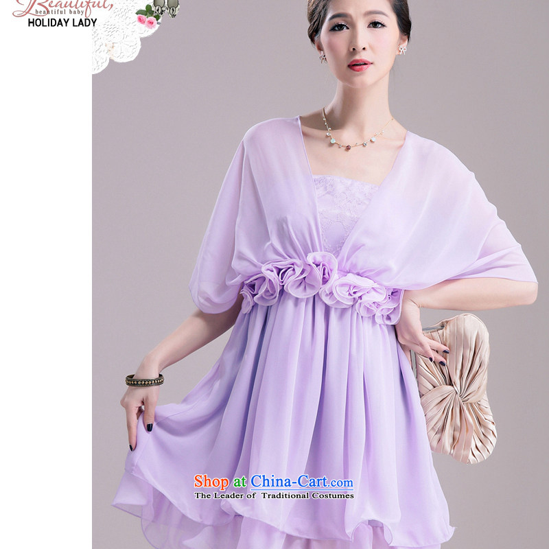 The end of the light (MO) 3 through QIAN-bridesmaid small dress wiping the chest by chiffon larger female thick MM XL women's dresses violet�L