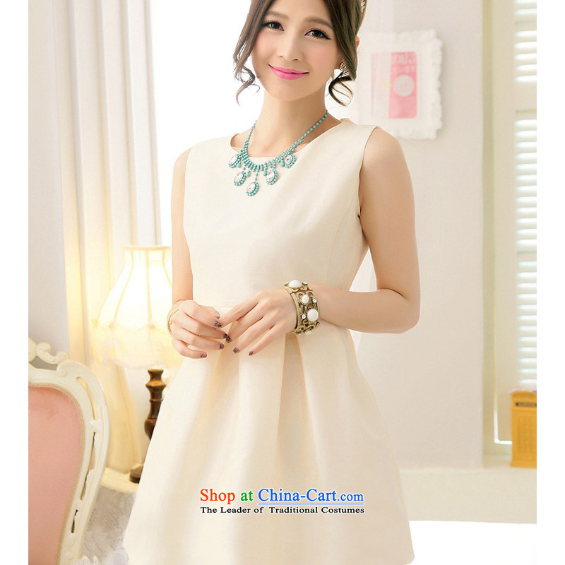 The end of the light (MO) Tanny American QIAN simple and refreshing waist wrinkles back twine bow knot bon bon small dress ocean skirt dresses apricot�S