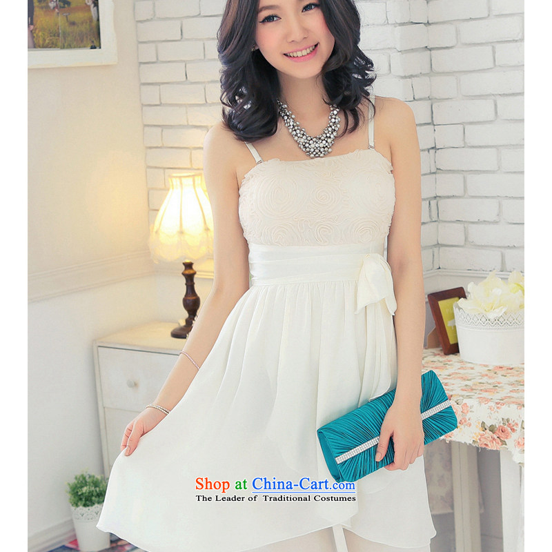 The end of the light (MO) won QIAN female strap small dress skirt dresses lace spell color edge, single dress I should be grateful if you would arrange skirt apricot�XXL�chest 90-110