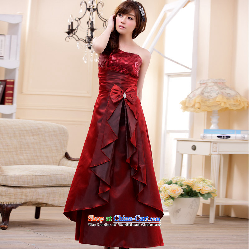 �Stylish long dinner Jk2.yy moderator dress will shoulder larger dresses wine red�XL