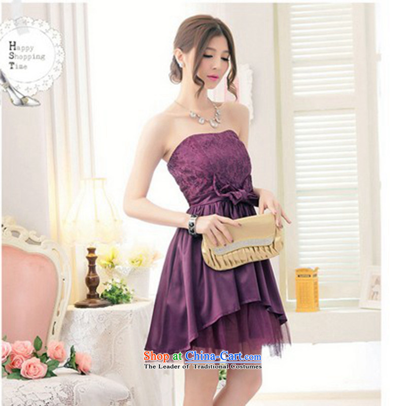 The end of the light (QIAN MO) precordial lace big butterfly netting yarn bon bon dress ocean skirt evening dresses dresses purple are code