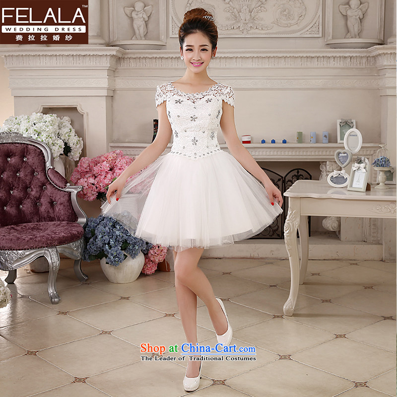 Ferrara ♀ Korean sweet dress skirt wedding dress bon bon white and one Field shoulder bridesmaid wedding dress short, Mr Ronald L Suzhou Shipment