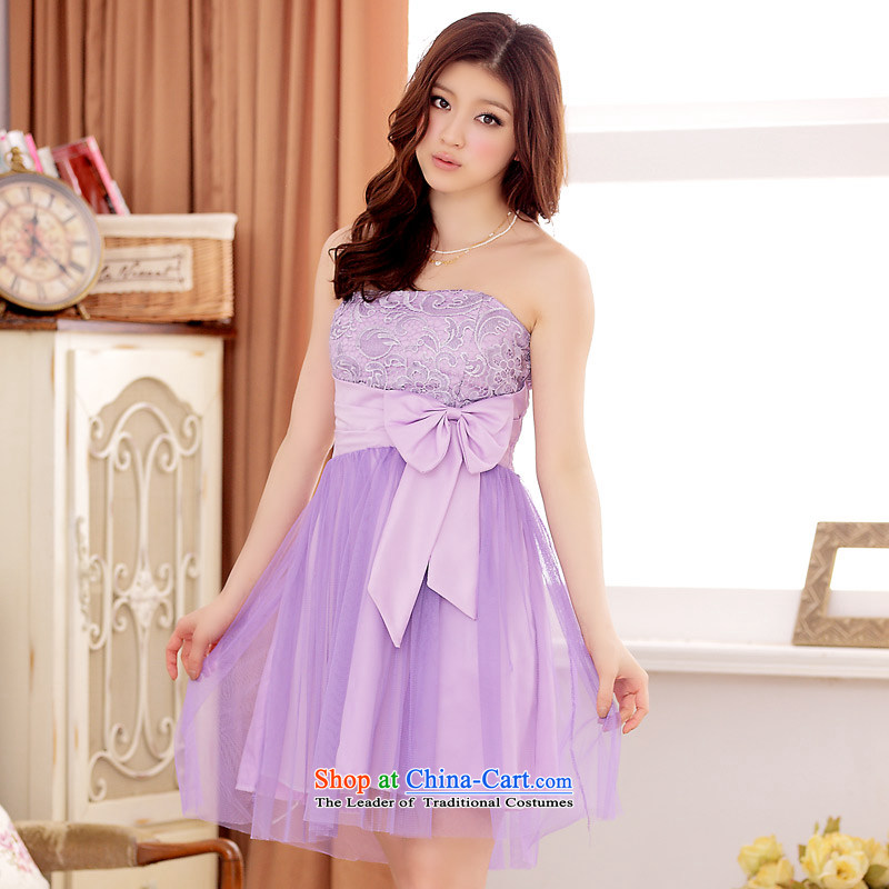 ?The Korean version of the aristocratic Jk2.yy van gauze sexy anointed chest gauze large short of dress dresses purple?XXL