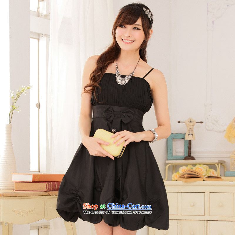 �The Korean version of the aristocratic Jk2.yy Princess van lanterns skirt dinner strap bridesmaid dress short skirt, black�XXL