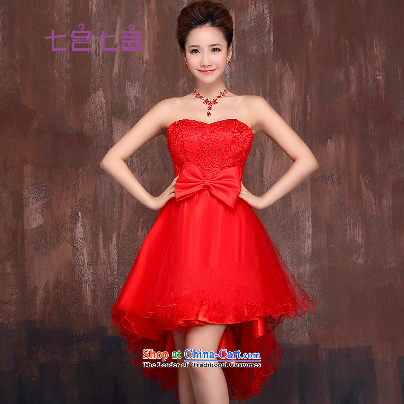 7 Color 7 tone Korean New 2015 marriages bows services bridesmaid red lace wiping the chest after short long short skirts dress L003 small red S