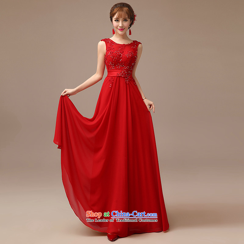 2015 New Red video thin dress bride wedding bows services long red slotted shoulder dress RED?M