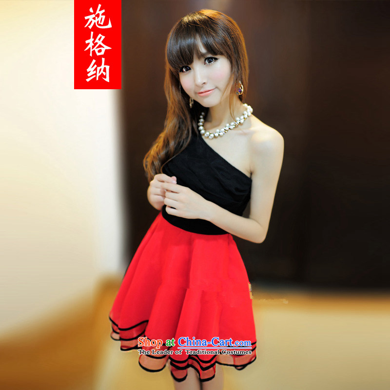 Rate of 2014 New shoulder Beveled Shoulder and sexy nightclubs dresses bridesmaid skirt 1326 Black + Red