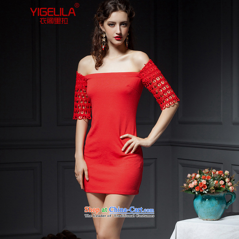 Yi Ge lire /YIGELILA Blue Bird is embroidery waves fifth cuff small dress bridesmaid skirt bows dress the word shoulder bare shoulders dresses red 6,624 M