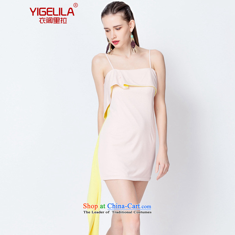 Yi Ge lire /YIGELILA ribbon of solid color strap skirt short skirt Fashion banquet dress everyday dress small dress skirt light pink 6564 M