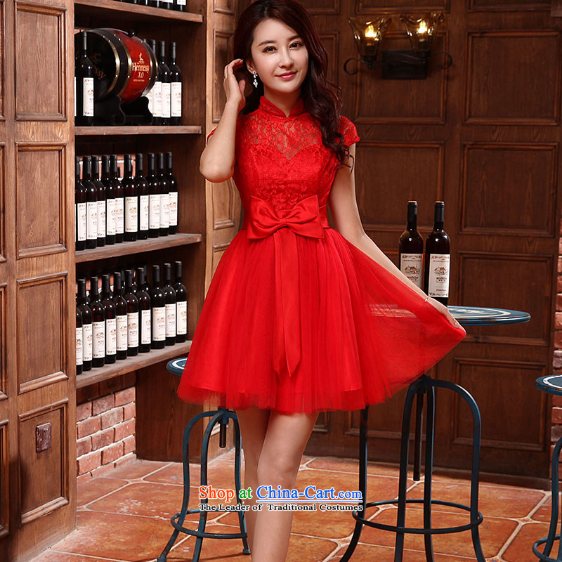 Jie diffuse bridesmaid Service, 2015 New collar retro lace champagne color red short of small dress bridesmaid bows services red?S service