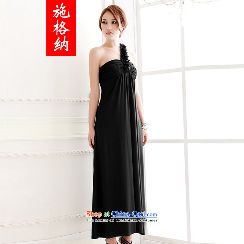 Rate of?2014 Summer New Pure color-rotator cuff shoulder back bodice Sau San dresses Beveled Shoulder the long skirt dress code are black 5573 Skirt