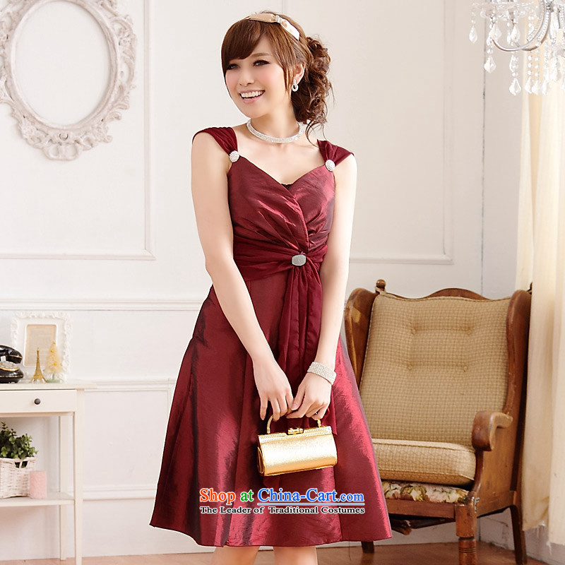 �The Korean version of the aristocratic Jk2.yy Princess V-neck tie dinner of the Diamond short of lifting strap dresses and sexy dresses wine red are code