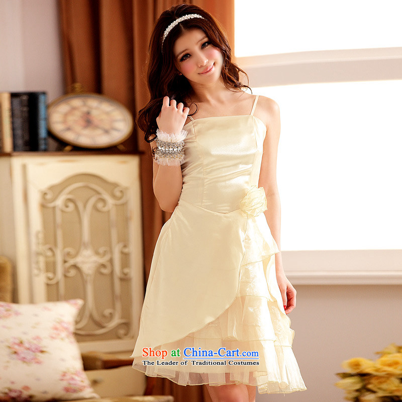 �The Korean version of the aristocratic Jk2.yy van short of Princess bridesmaid mission strap dress dinner will be sexy dresses champagne color�XXL