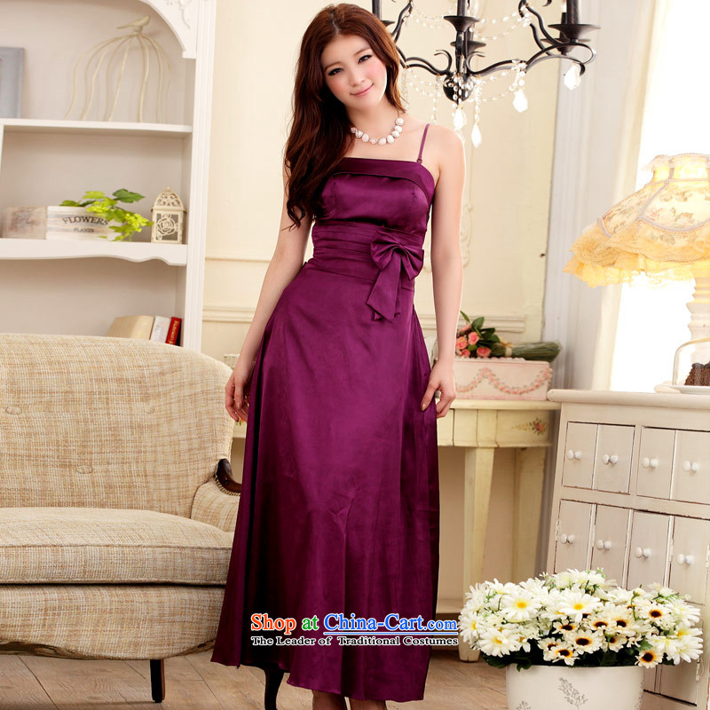 ?Aristocratic magnificent Slop buckets Jk2.yy Sau San emulation silk straps moderator dinner dress large long skirt purple are code