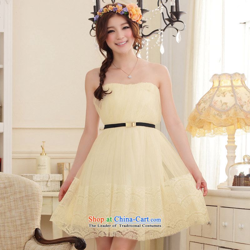 聽The Korean version of the aristocratic Jk2.yy elegant princess bridesmaid short of dresses dinner for larger screen wipe yarn chest lei dresses champagne color are code
