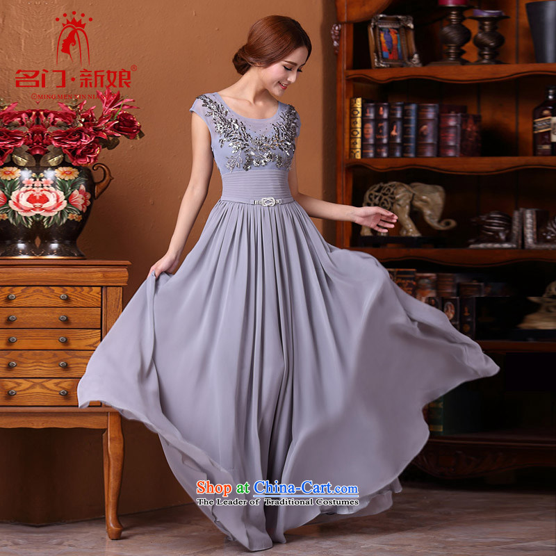 A?new 2015 bride elegant dress-long, light manually dress diamond gray 593 L