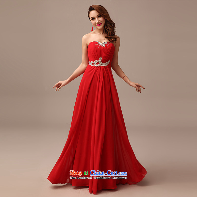 2015 New Red video thin dress bride wedding bows services long red dress red?XL