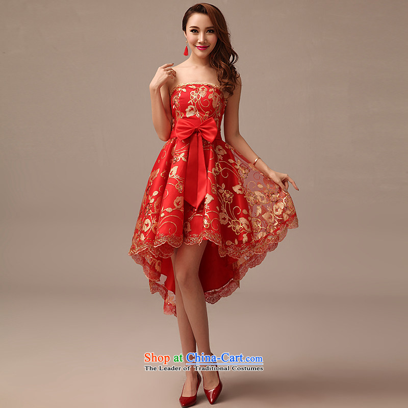 In spring and summer 2015 New Red video thin dress bride wedding bows services long red dress RED?M