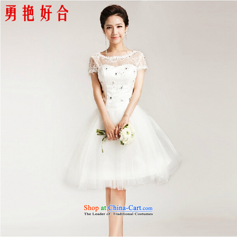 Yung Yan Jing Dong close 2015 Summer Wedding bride wedding dress sweet princess bon bon skirt package shoulder lace short-sleeved short of straps for wedding white color is not returning Size