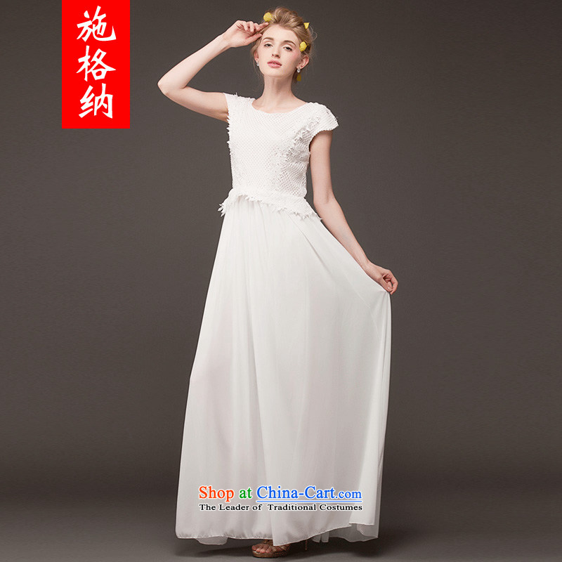 Rate of operation of the?2014 New larger female embroidery lace large stylish temperament Sau San short-sleeved wafts through the long skirt 8039 White?XL