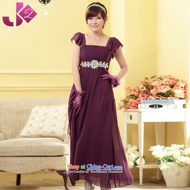 �High atmospheric fine Jk2.yy diamond chain tension Foutune of black poverty larger dresses chiffon long skirt dinner dress purple size height and weight ratio details involving advisory services