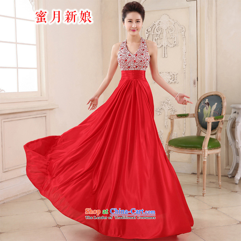Honeymoon bride spring and summer 2015 new products bows dress long stylish chiffon hang also chaired the annual performance service dress red�L