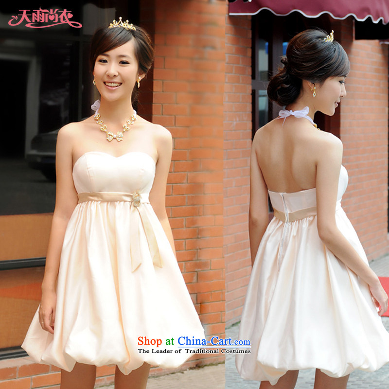 Rain-sang Yi marriages 2015 new bows services bridesmaid small dress thick MM larger dresses pregnant women high waist dress LF114 champagne color?XXL