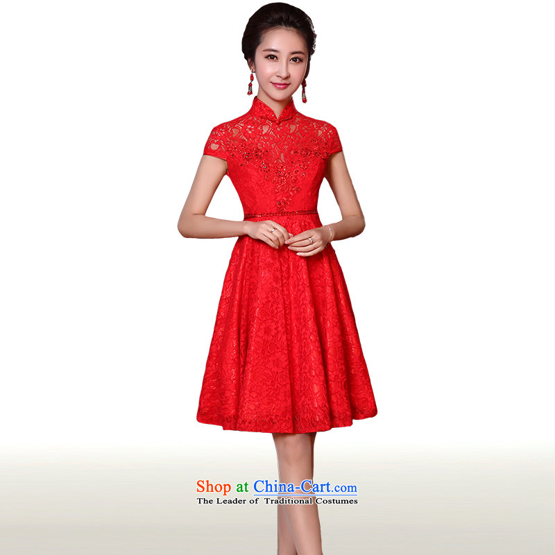 Clean the?new 2015 Korean man Top Loin of pregnant women short version of the bows to small dress skirt marriages short dress stylish lace bow tie bows services red?L