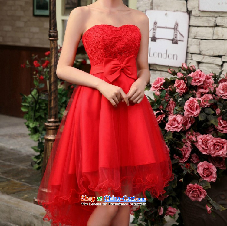 Yong-yeon and 2015 new small dress skirt bride bridesmaid services red wedding dresses marriage services Evening Dress Short bows, lace front stub for a long white S picture, prices, brand platters! The elections are supplied in the national character of distribution, so action, buy now enjoy more preferential! As soon as possible.